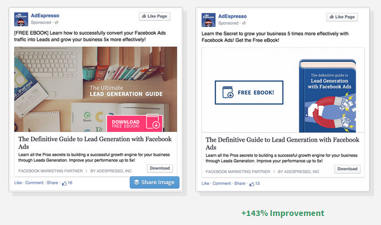 Facebook ad comparison - Neil Patel