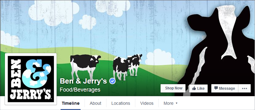 Screenshot Facebook - Ben and Jerry's