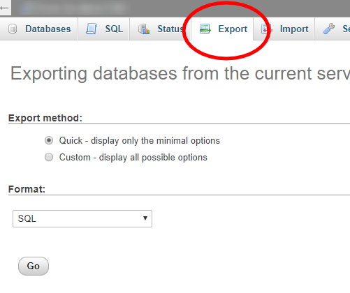phpMyAdmin database export