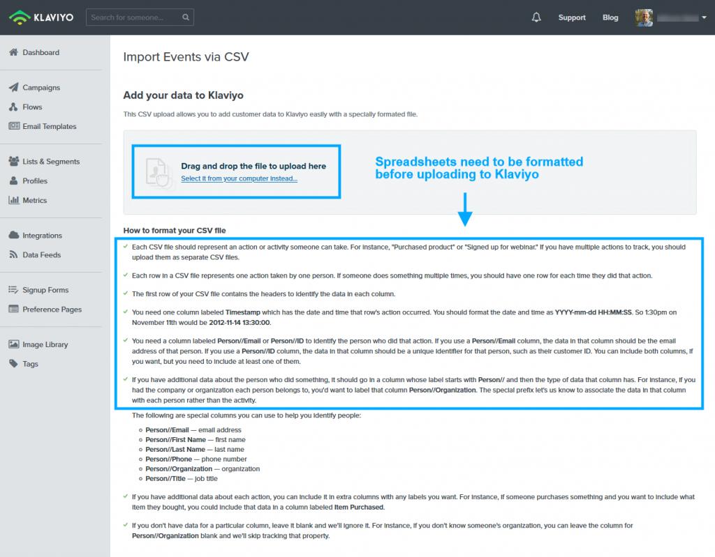 Klaviyo Admin - CSV Formatting Instructions